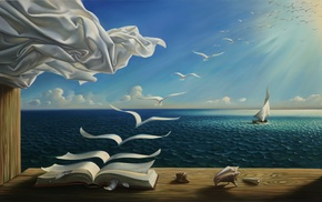 sea, clouds, curtains, Sun, painting, table