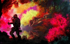 planet, astronauts, aliens, forest, fantasy art, spacesuit
