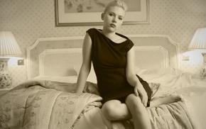 actress, girl, Scarlett Johansson, bed