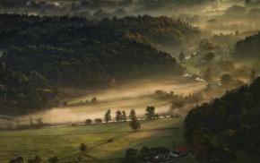 morning, mist, landscape, nature, farm, valley