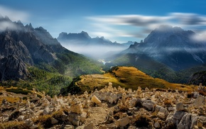 mist, valley, landscape, Italy, nature, forest