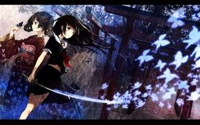 Kisaragi Saya, school uniform, Blood, C, anime, kimono