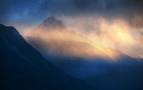 blue, nature, clouds, mountain, landscape, sunlight