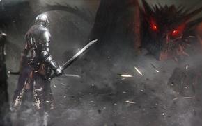 artwork, dragon, knight, armor