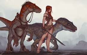 Ark Survival Evolved, dinosaurs, raptor, girl