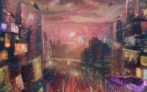 artwork, futuristic city
