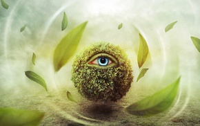 digital art, blue eyes, surreal, eyes, windy, grass