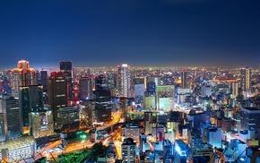 long exposure, Japan, skyscraper, building, street, Osaka