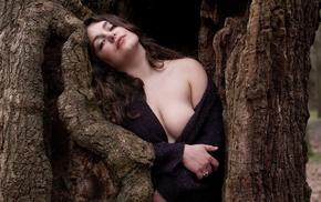 brunette, big boobs, wavy hair, model, sweater, trees