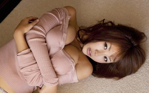 Mai Nishida, Japanese girl, carpets, open mouth, Asian, lying on back