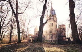 old, architecture, old building, abandoned, Gothic architecture, trees