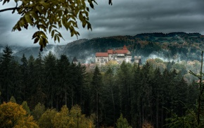 leaves, hill, fall, mist, Czech Republic, trees