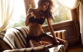 brunette, couch, girl, lingerie, Wojtek Pruchnicki, black bras