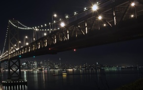 city, bridge, landscape, night