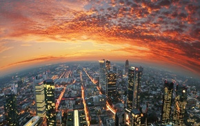 sunset, city, Germany, Frankfurt, sky