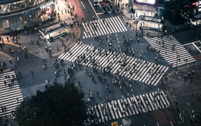 city, intersections, Tokyo, Shibuya