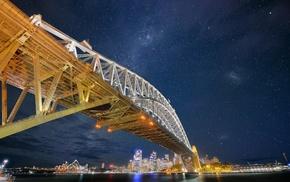 bridge, Sydney, stars, Sydney Harbour, Sydney Harbour Bridge, city