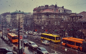 buses, Belgrade, city, car, snow, Serbia