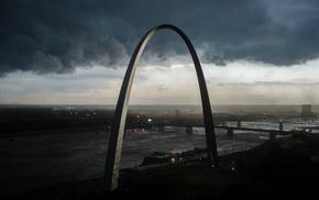 storm, clouds, St. Louis, arch
