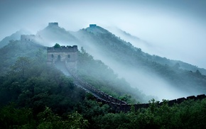 mist, Great Wall of China, mountain, China