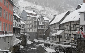 snow, mountain, Germany, house, town, village