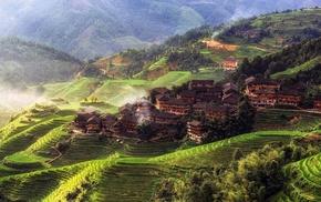 Tian Tou Village, China, village, trees, house, mountain