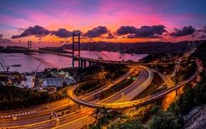 bridge, long exposure, Victoria Harbour, city, Freeway, Hong Kong