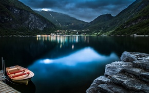 Norway, town, evening, blue, nature, Geiranger