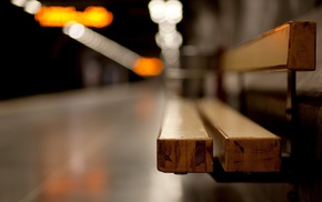 bench, depth of field, subway, bokeh, train station