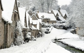 Bibury, town, winter, stream, England, ngland