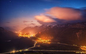 mist, evening, Switzerland, starry night, cityscape, mountain