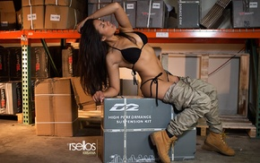 open mouth, girl, sitting, closed eyes, Pants down, shoes