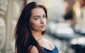 pierced nose, model, blue eyes, portrait, depth of field, brunette