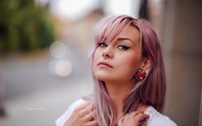 girl, eyeliner, blue eyes, dyed hair, portrait, depth of field