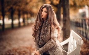 long hair, portrait, blue eyes, girl, sweater, bench