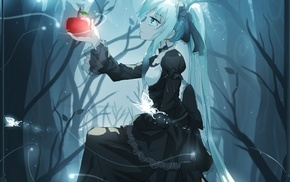 Hatsune Miku, anime girls, forest clearing, apples, Vocaloid