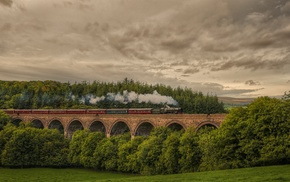 viaduct, UK, smoke, nature, train, England