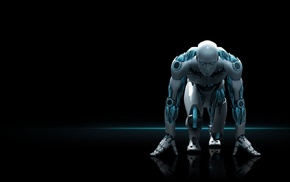 sports, athletes, men, machine, glowing, black background