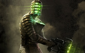 smoke, video games, men, Dead Space, mask, digital art