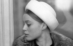 monochrome, actress, Magda Vasaryova, hat, face, girl