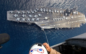 aircraft, military, FA, 18 Hornet, aerial view, ship