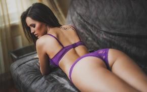 brunette, Aleksandr Margolin, lingerie, ass, back, depth of field