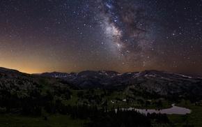 landscape, starry night, stars, Milky Way