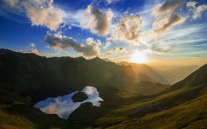 nature, mist, lake, sun rays, sky, reflection