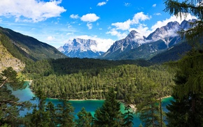 turquoise, mountain, clouds, water, Alps, lake
