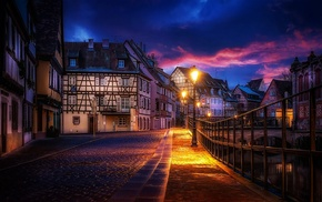 house, evening, city, canal, architecture, cobblestone