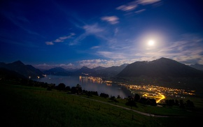 lights, Switzerland, landscape, night, mountain, stars