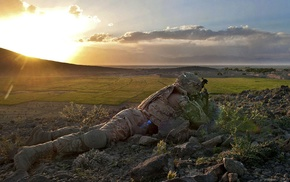 United States Army, military, soldier, sunset, War in Afghanistan, Afghanistan