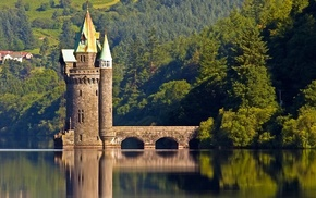 water, trees, landscape, lake, reflection, Vyrnwy Tower