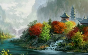 Asian architecture, mountain, forest, leaves, nature, fall